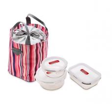 Bộ 3 hộp thủy tinh và túi giữ nhiệt Lock&Lock (870ml, 630ml, 380ml)