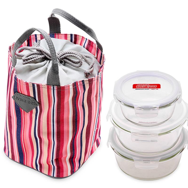 Bộ 3 hộp thủy tinh Lock&Lock và túi giữ nhiệt (950ml, 870ml, 380ml)