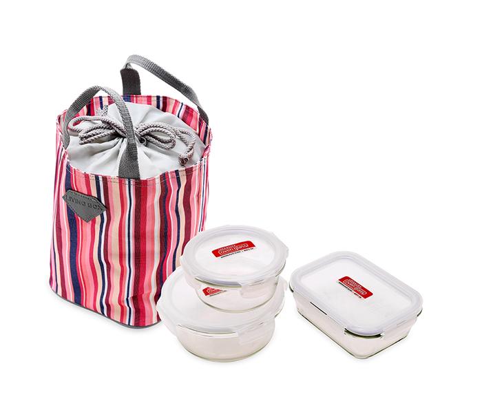 123mua Bộ 3 hộp thủy tinh và túi giữ nhiệt Lock&Lock (870ml, 630ml, 380ml)