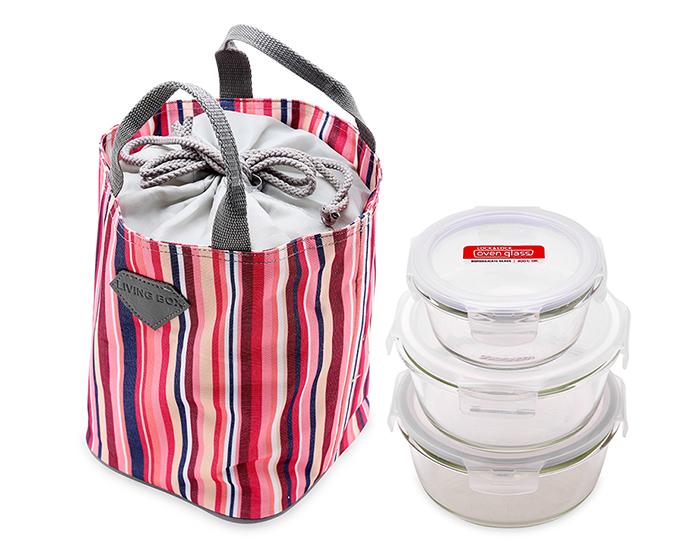 Bộ 3 hộp thủy tinh Lock&Lock và túi giữ nhiệt (950ml, 870ml, 380ml) giá rẻ