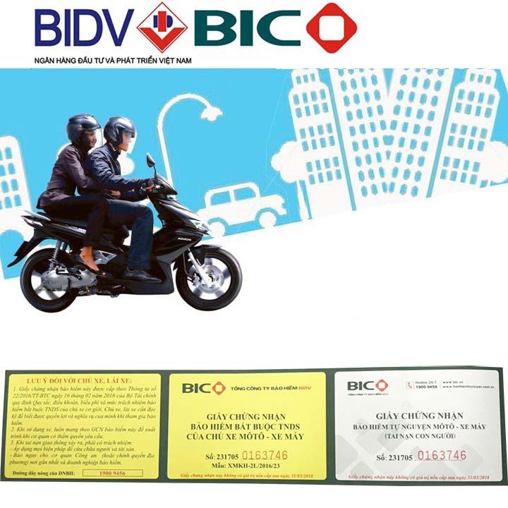 123mua Bảo Hiểm BIDV 2 Năm Bắt Buộc Và Tự Nguyện Cho Xe Máy