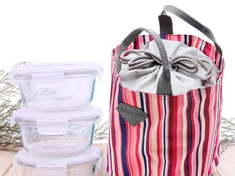 Bộ 3 Hộp Lock&Lock 870ml Thủy tinh và túi giữ nhiệt giá rẻ